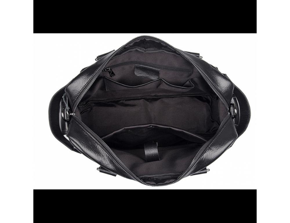 Мужская кожаная сумка TIDING BAG 8400A чёрная - Фото № 9