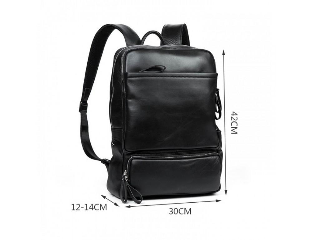 Кожаный городской рюкзак Tiding Bag B3-1697A чёрный - Фото № 2