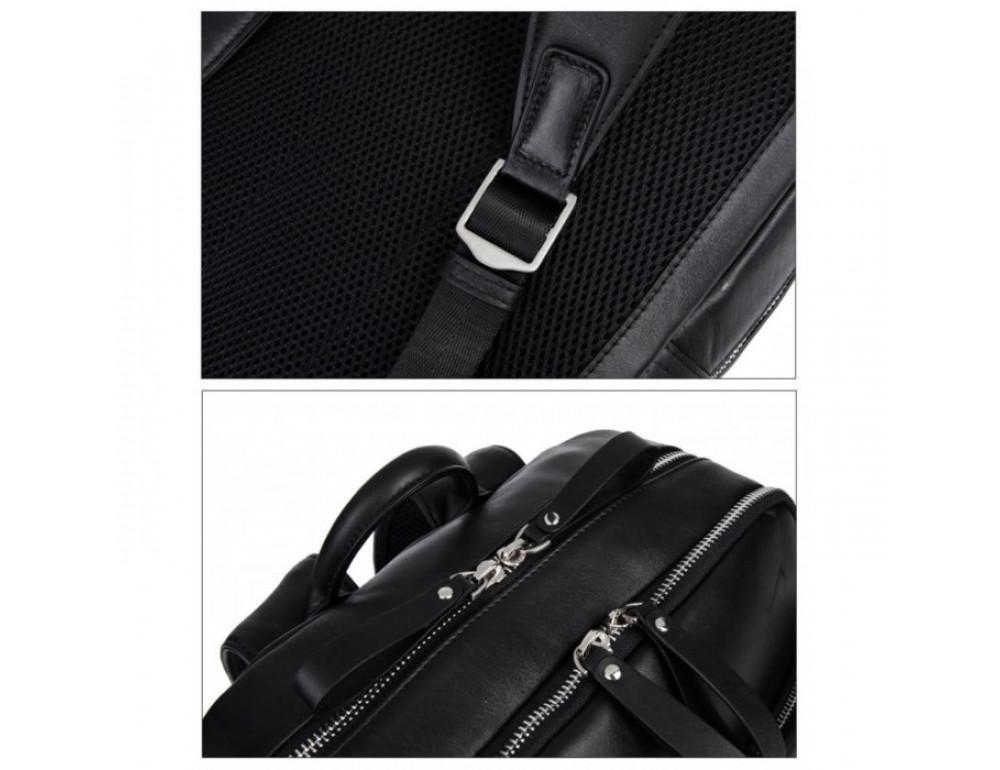 Кожаный городской рюкзак Tiding Bag B3-1697A чёрный - Фото № 3