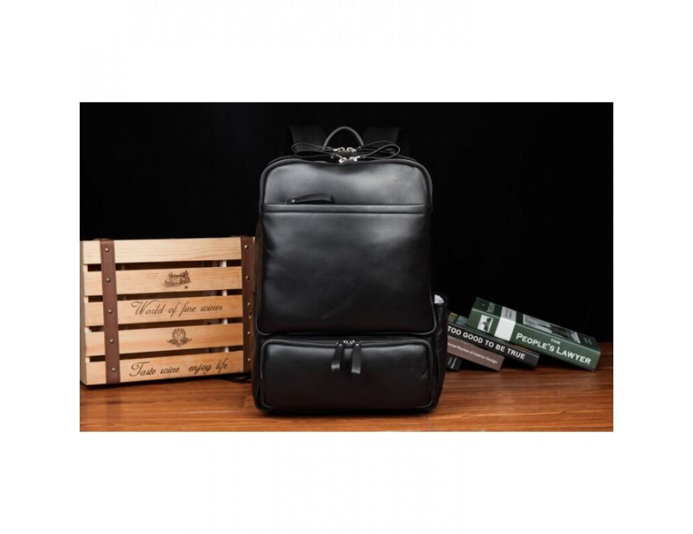 Кожаный городской рюкзак Tiding Bag B3-1697A чёрный - Фото № 4