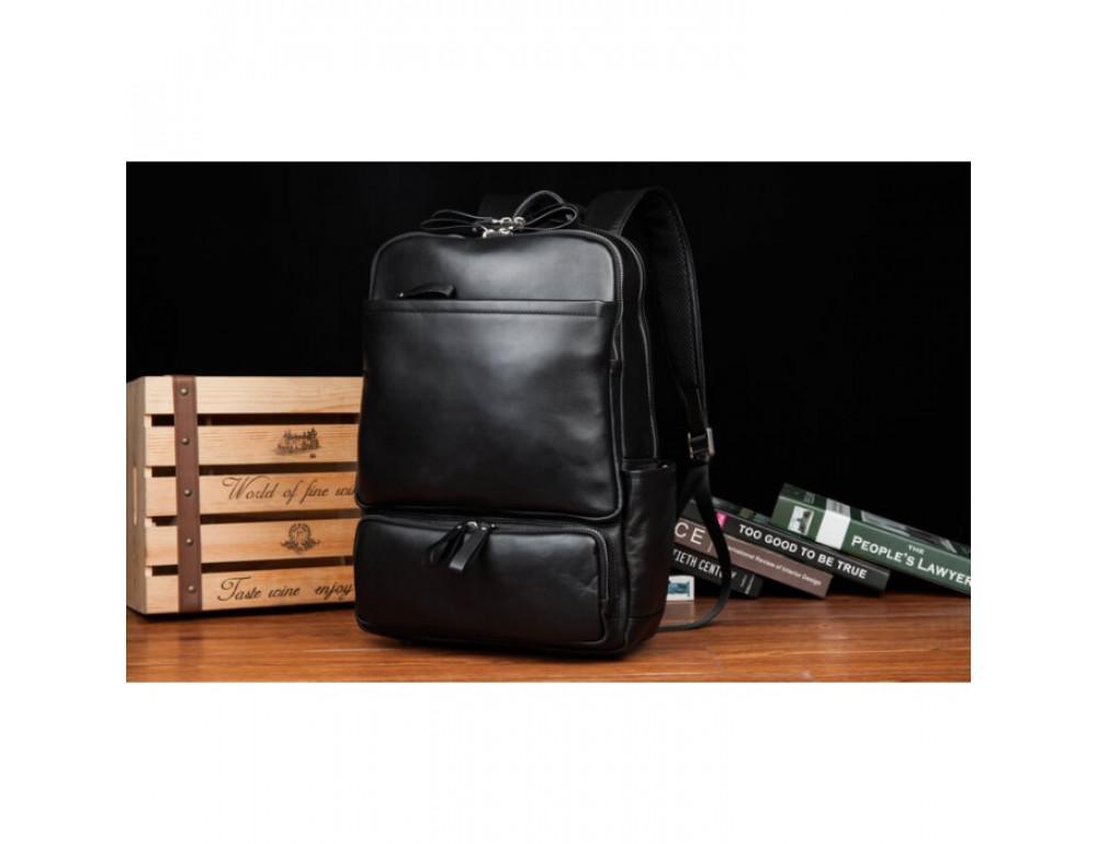 Кожаный городской рюкзак Tiding Bag B3-1697A чёрный - Фото № 5