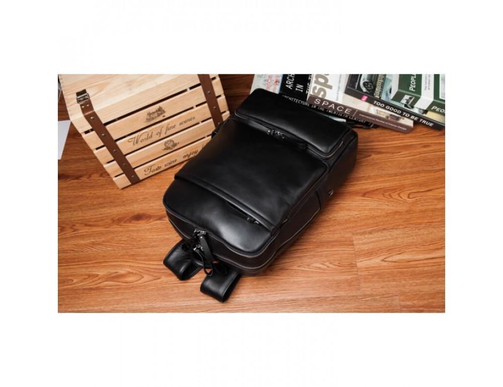 Кожаный городской рюкзак Tiding Bag B3-1697A чёрный - Фото № 6