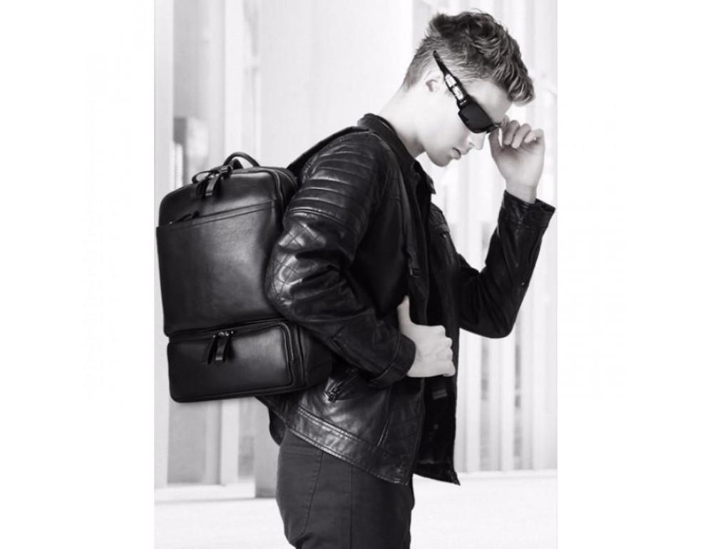 Кожаный городской рюкзак Tiding Bag B3-1697A чёрный - Фото № 9