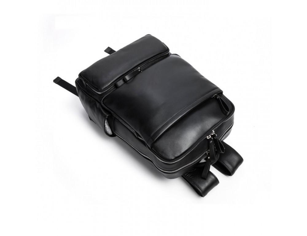 Кожаный городской рюкзак Tiding Bag B3-1697A чёрный - Фото № 10