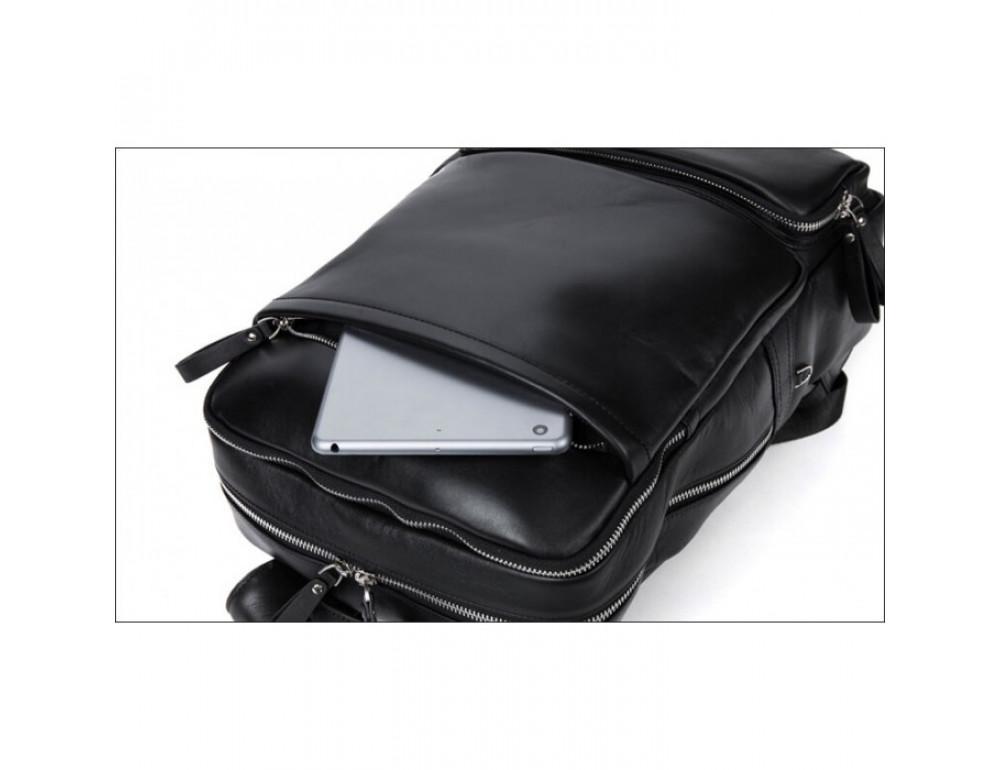 Кожаный городской рюкзак Tiding Bag B3-1697A чёрный - Фото № 13