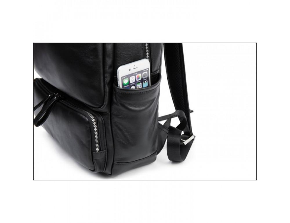 Кожаный городской рюкзак Tiding Bag B3-1697A чёрный - Фото № 14