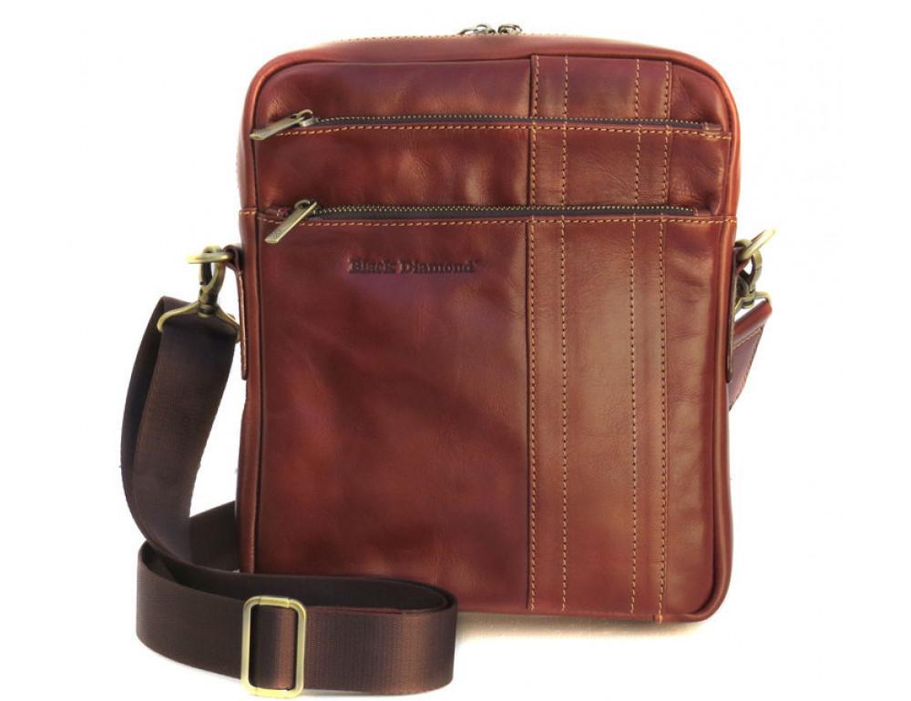 Мужская кожаная сумка Black Diamond BD11C рыжая - Фото № 2