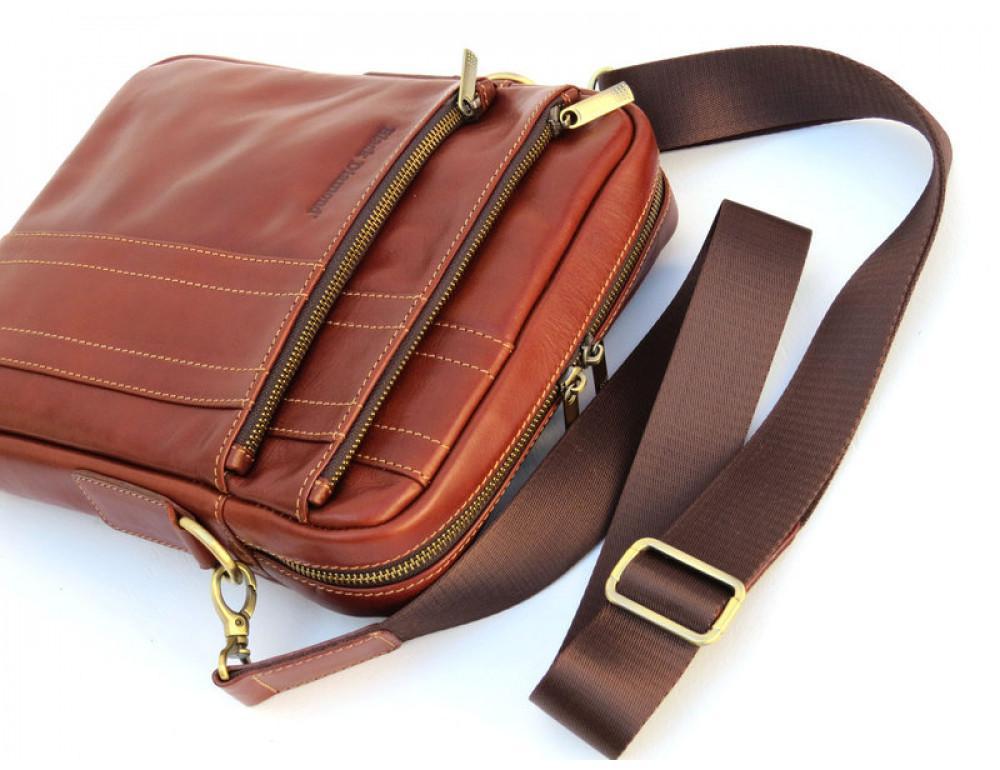 Мужская кожаная сумка Black Diamond BD11C рыжая - Фото № 5