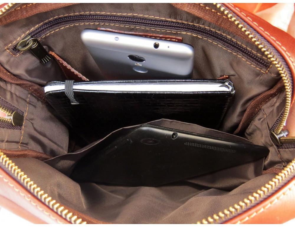 Мужская кожаная сумка Black Diamond BD11C рыжая - Фото № 9