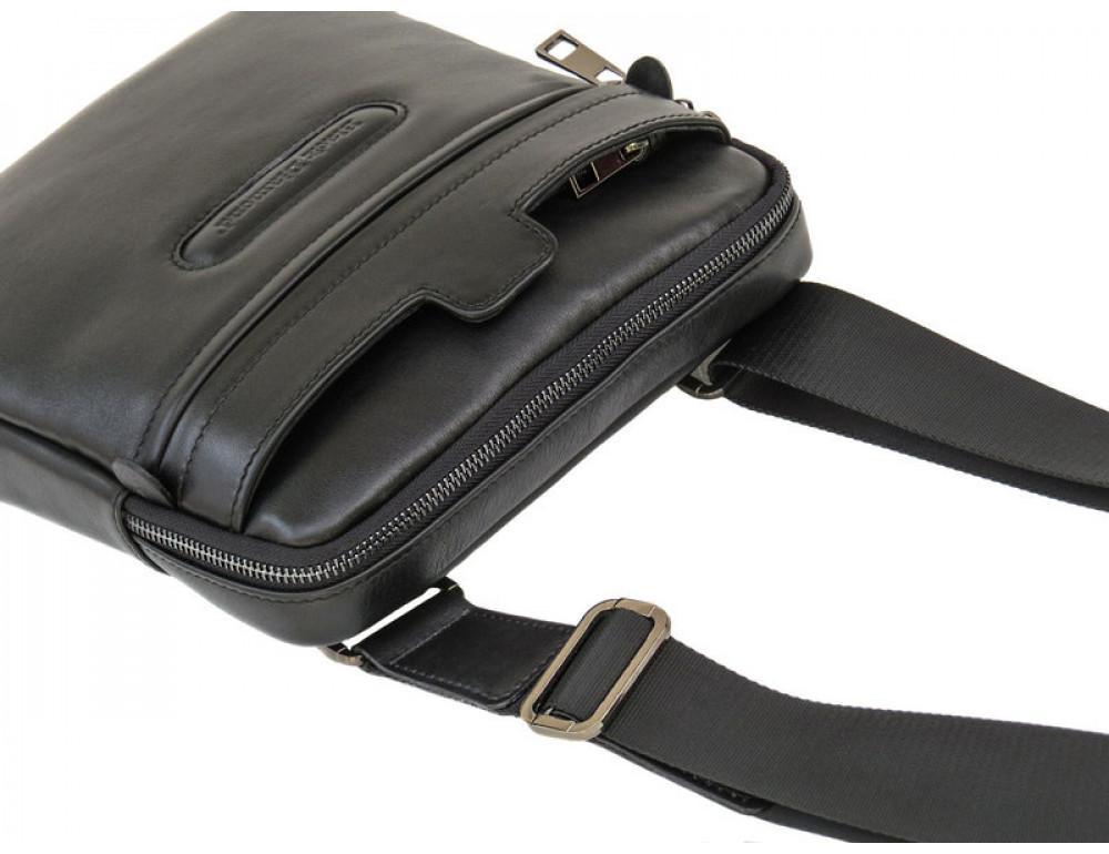 Мужская кожаная сумка-мессенджер Black Diamond BD16v2Ator чёрная - Фото № 6