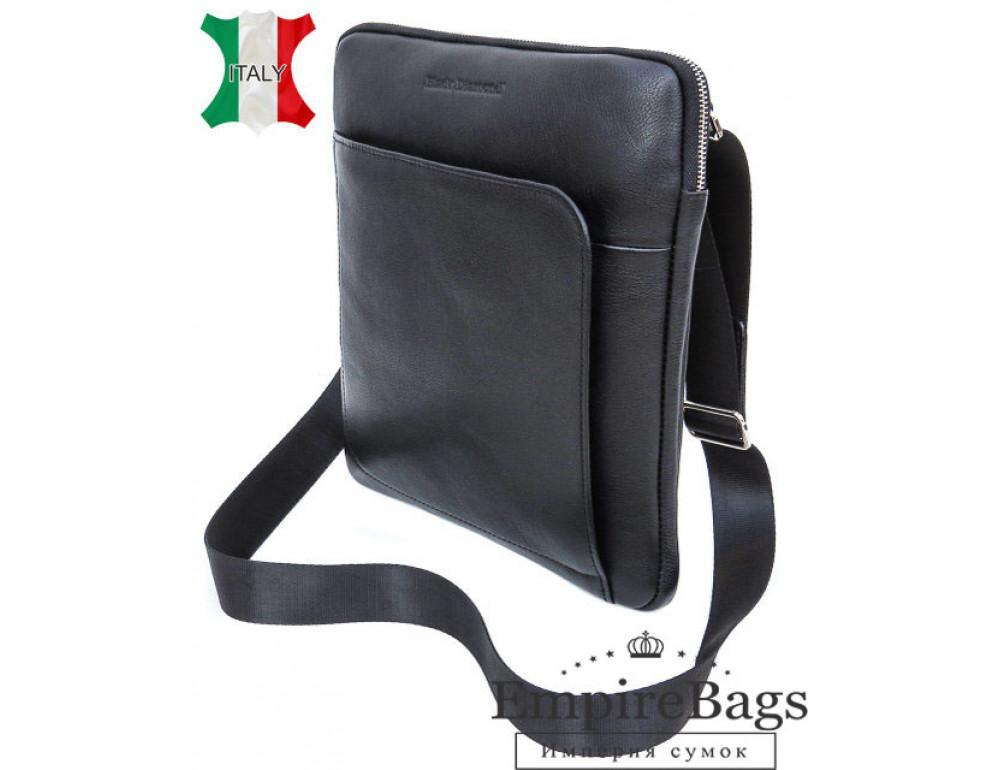 Чоловіча шкіряна сумка на плече Black Diamond BD39A чорна