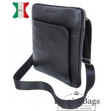 Мужская кожаная сумка на плечо Black Diamond BD39A чёрная
