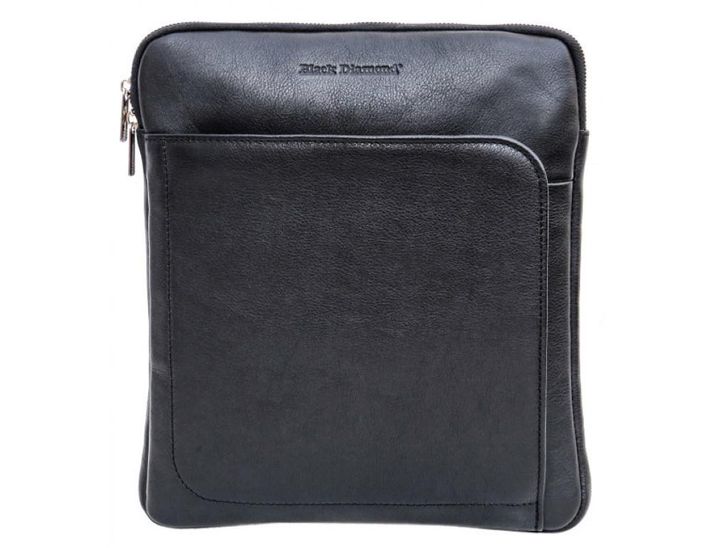Мужская кожаная сумка на плечо Black Diamond BD39A чёрная - Фото № 2
