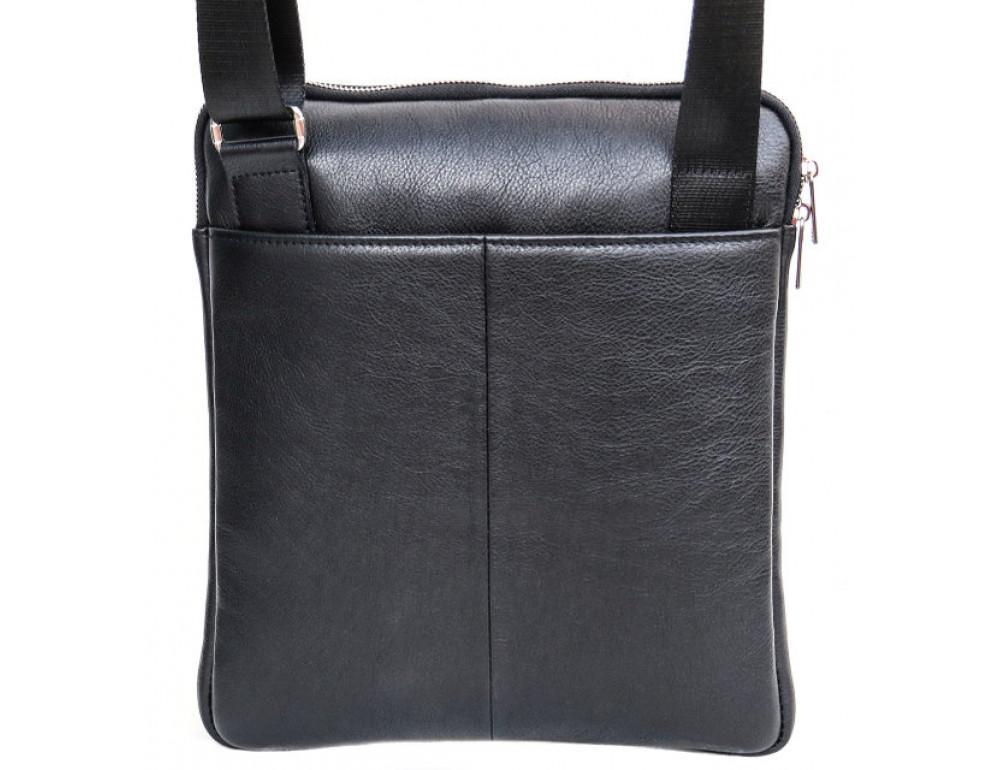 Мужская кожаная сумка на плечо Black Diamond BD39A чёрная - Фото № 3