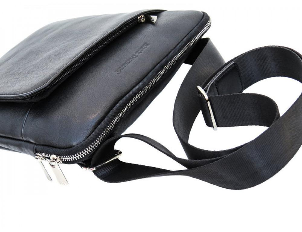 Мужская кожаная сумка на плечо Black Diamond BD39A чёрная - Фото № 5
