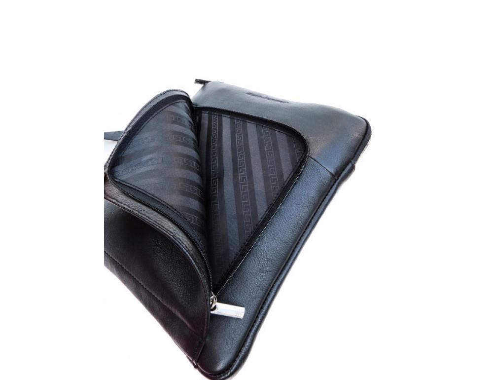 Мужская кожаная сумка на плечо Black Diamond BD39A чёрная - Фото № 6