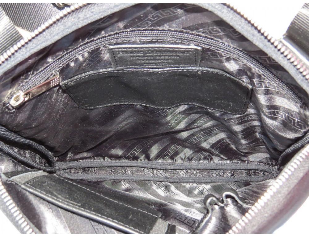 Мужская кожаная сумка на плечо Black Diamond BD39A чёрная - Фото № 7