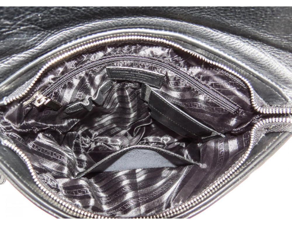 Мужская кожаная почтальонка Black Diamond BD41A чёрная - Фото № 8