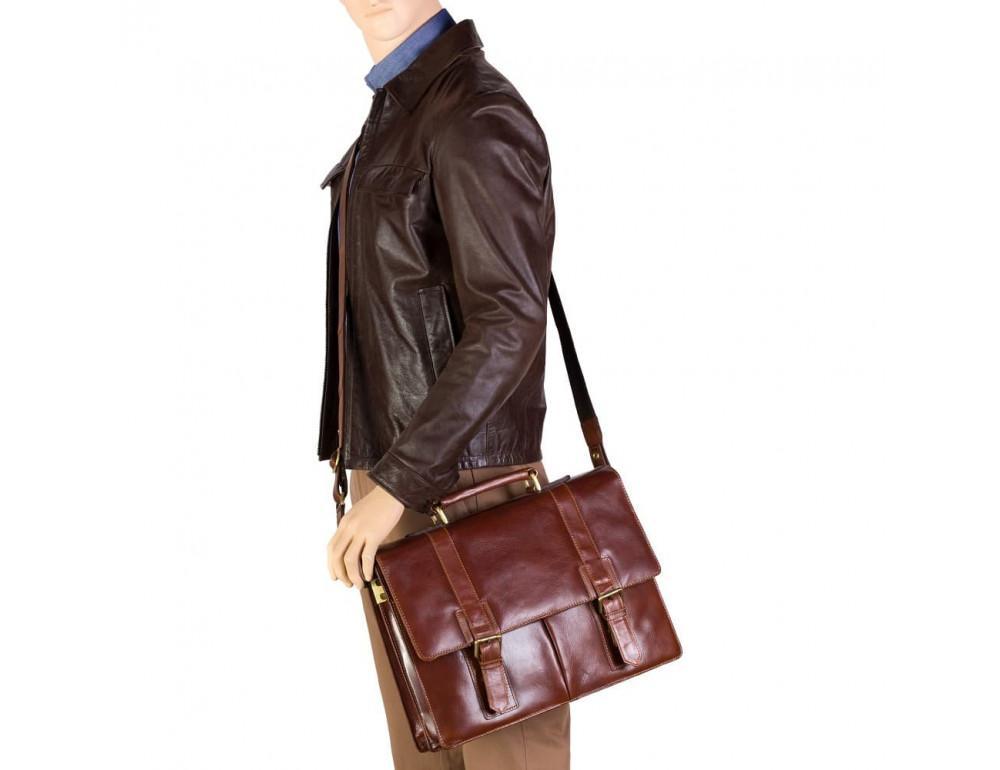 Кожаный портфель Visconti Visconti VT6 - Bennett коричневый - Фото № 8