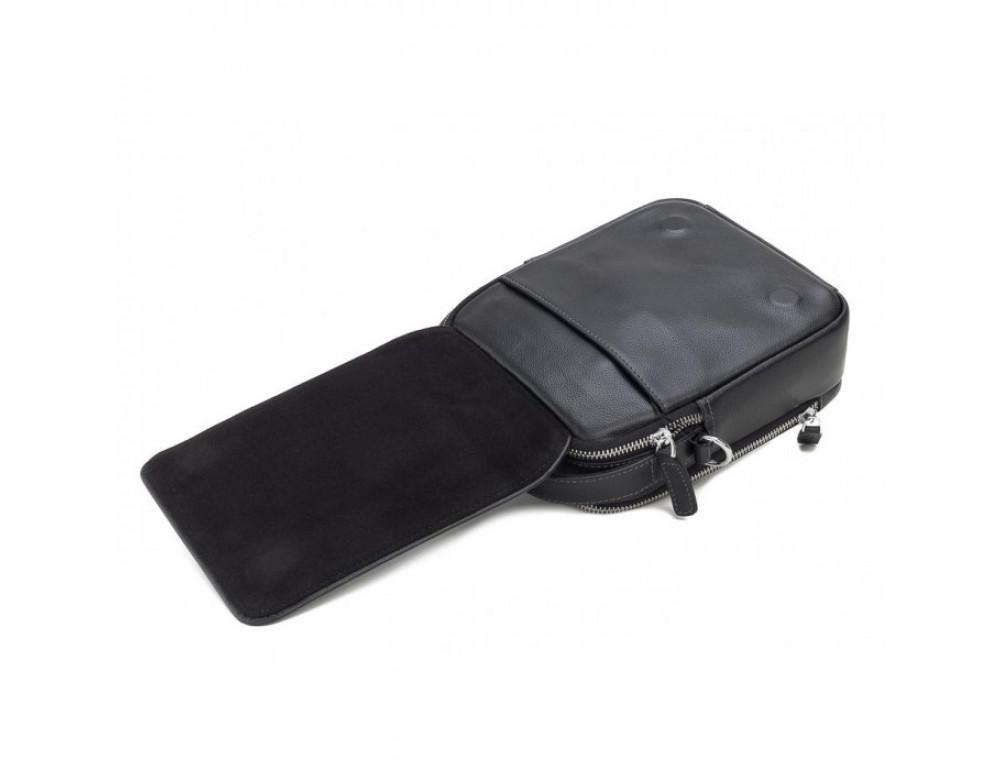 Мужской кожаный мессенджер TIDING BAG M711-3A чёрный - Фото № 5