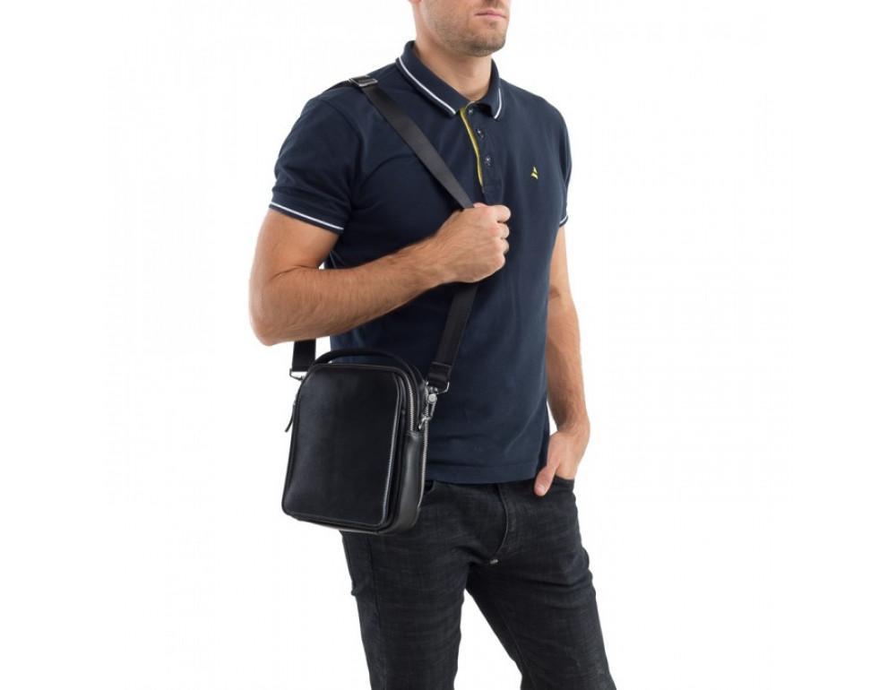 Мужской кожаный мессенджер TIDING BAG M711-3A чёрный - Фото № 8