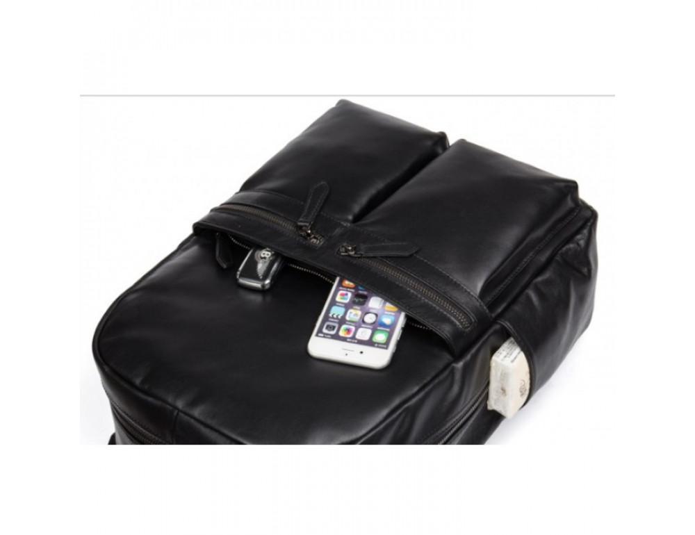 Кожаный городской рюкзак Tiding Bag NM17-1281-3A чёрный - Фото № 15