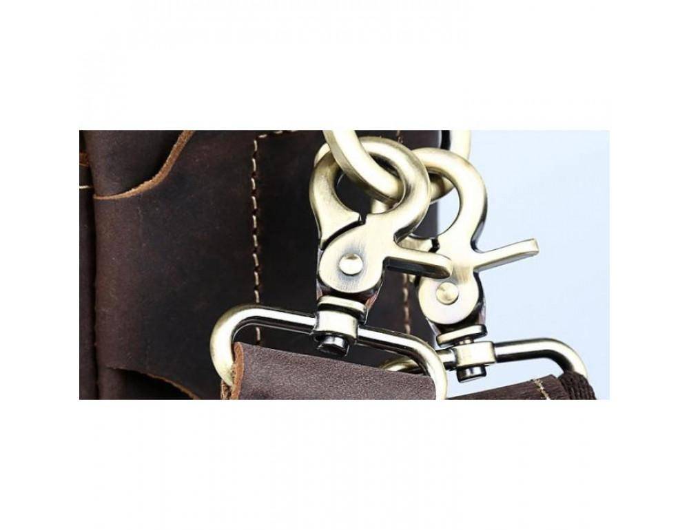 Вінтажна сумка з кінської шкіри TIDING BAG T1019 коричнева - Фотографія № 11