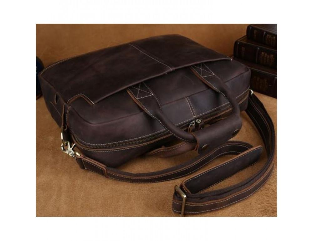 Вінтажна сумка з кінської шкіри TIDING BAG T1019 коричнева - Фотографія № 10