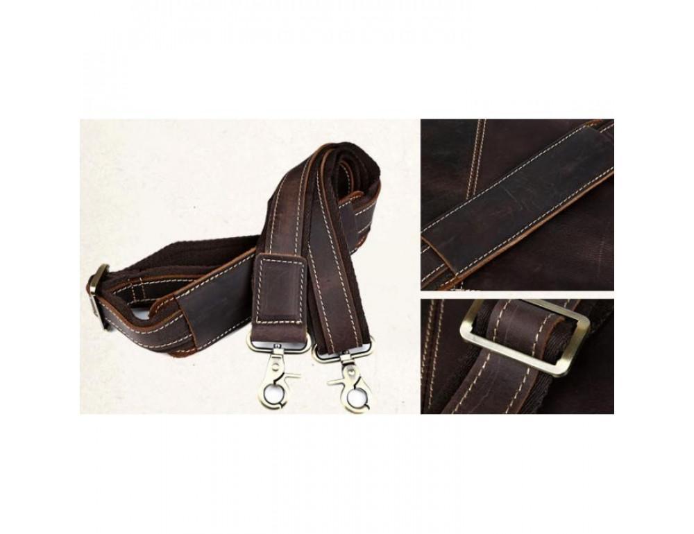 Вінтажна сумка з кінської шкіри TIDING BAG T1019 коричнева - Фотографія № 9