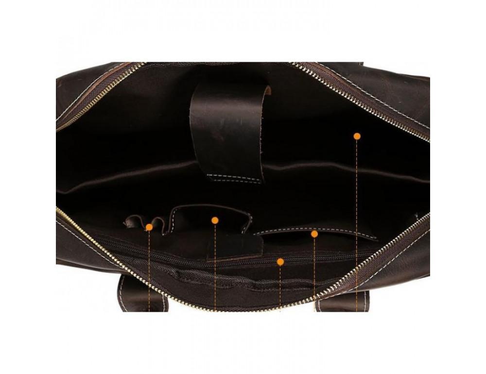 Вінтажна сумка з кінської шкіри TIDING BAG T1019 коричнева - Фотографія № 8