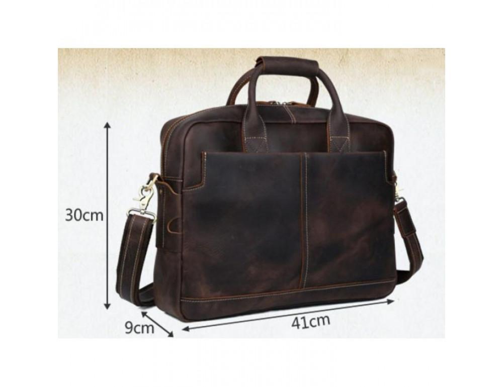 Вінтажна сумка з кінської шкіри TIDING BAG T1019 коричнева - Фотографія № 7
