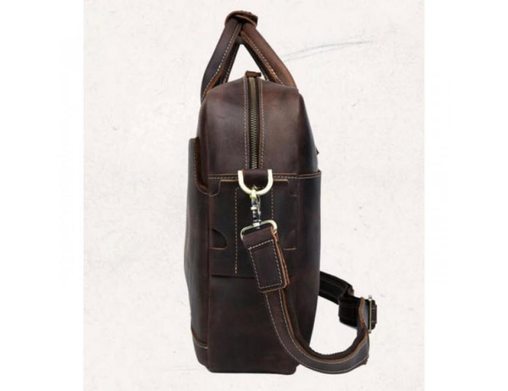 Вінтажна сумка з кінської шкіри TIDING BAG T1019 коричнева - Фотографія № 3