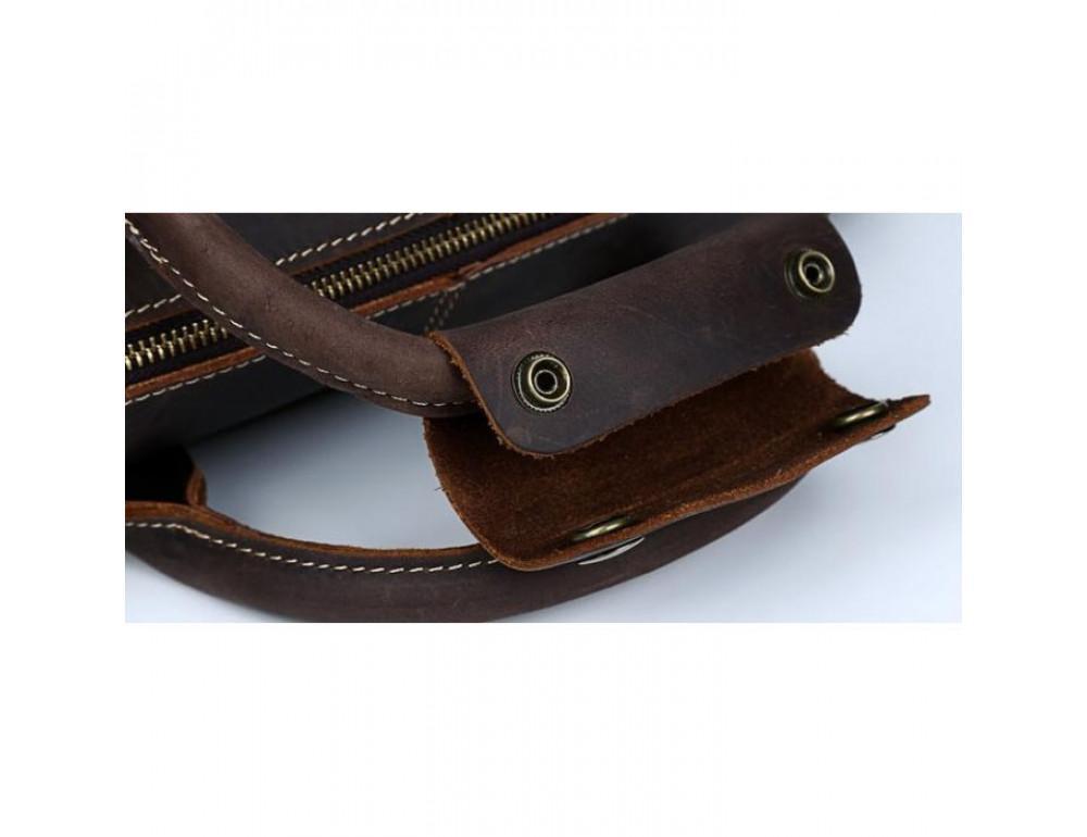 Вінтажна сумка з кінської шкіри TIDING BAG T1019 коричнева - Фотографія № 12