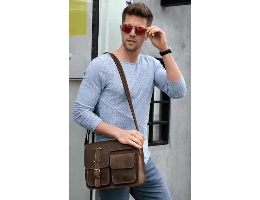 Винтажная кожаная сумка через плечо под А4 Bexhill Bx1050 коричневая - Фото № 2