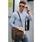 Винтажная кожаная сумка через плечо под А4 Bexhill Bx1050 коричневая - Фото № 101