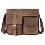 Винтажная кожаная сумка через плечо под А4 Bexhill Bx1050 коричневая - Фото № 100