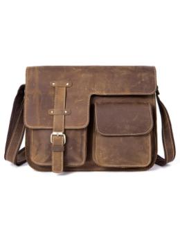 Винтажная кожаная сумка через плечо под А4 Bexhill Bx1050 коричневая