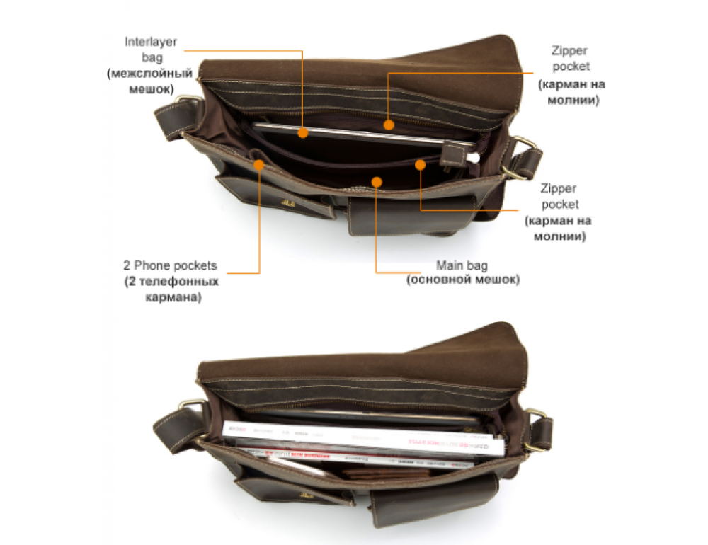 Винтажная кожаная сумка через плечо под А4 Bexhill Bx1050 коричневая - Фото № 4