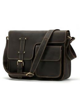 Тёмно-коричневая винтажная сумка из лошадиной кожи Bexhill Bx1050C