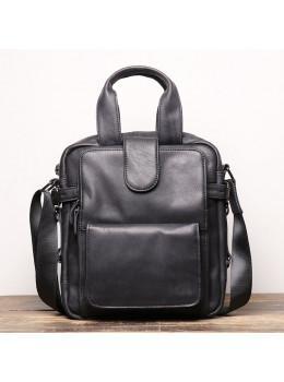 Чёрная кожаная сумка ушатая Vintage Bx8178A
