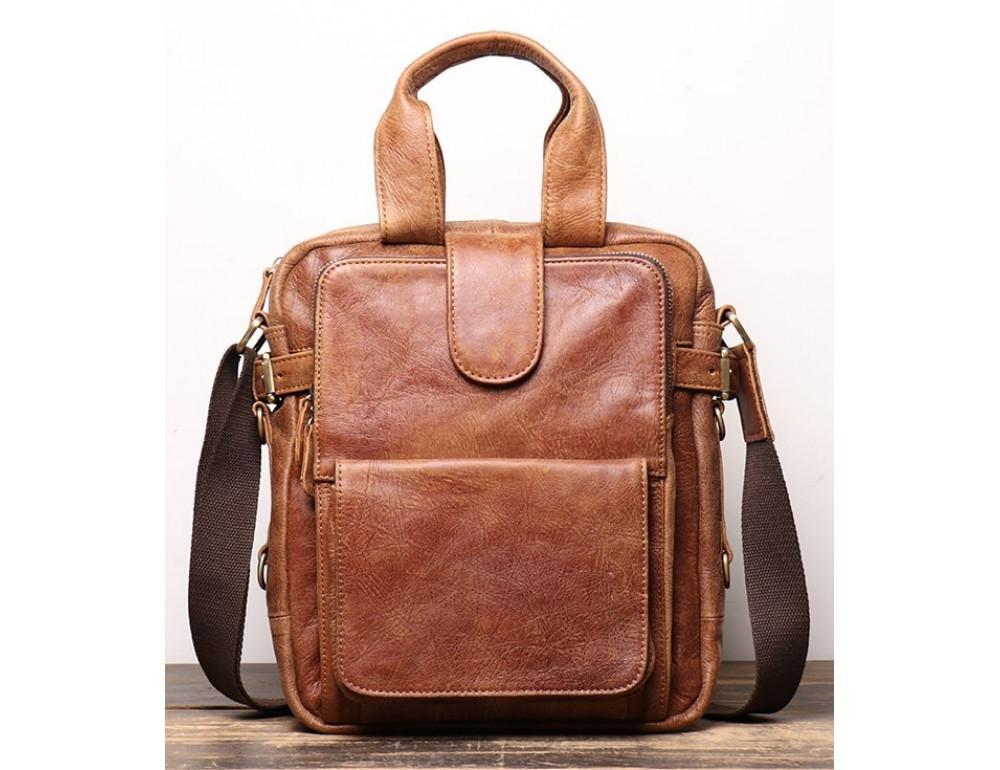 Коричневая кожаная сумка под старину Vintage BX8178C - Фото № 1