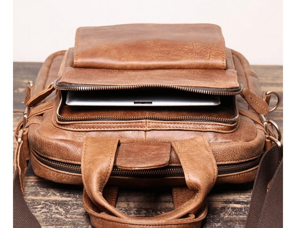 Коричневая кожаная сумка под старину Vintage BX8178C - Фото № 3
