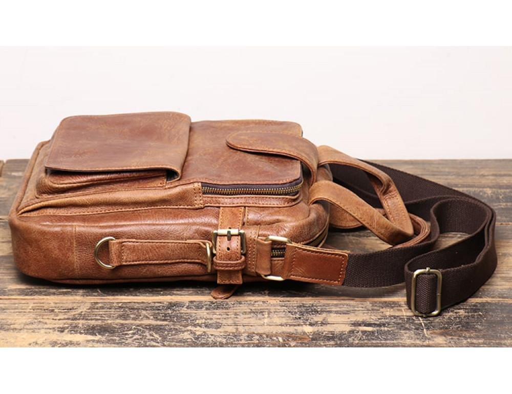 Коричневая кожаная сумка под старину Vintage BX8178C - Фото № 4