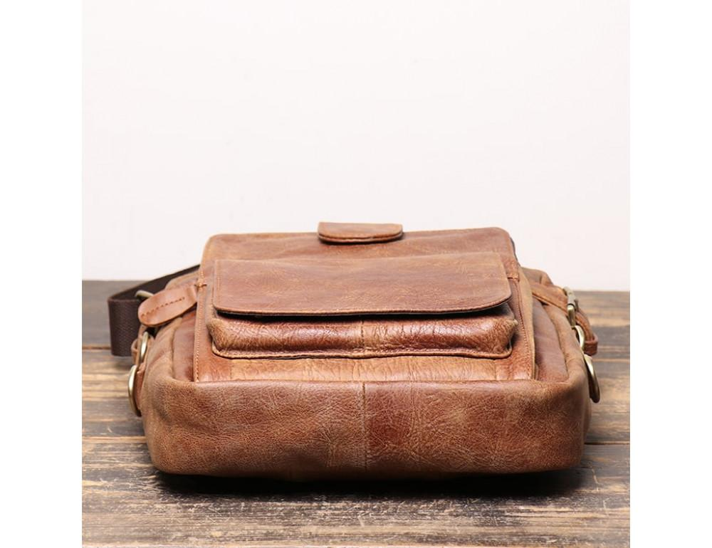 Коричневая кожаная сумка под старину Vintage BX8178C - Фото № 6