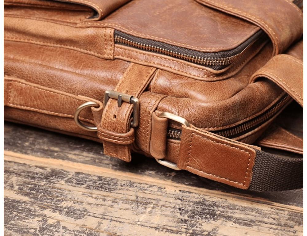 Коричневая кожаная сумка под старину Vintage BX8178C - Фото № 7