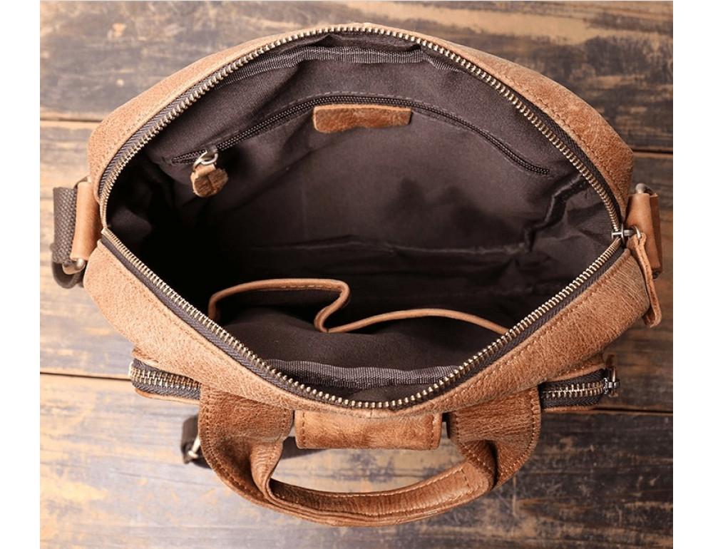 Коричневая кожаная сумка под старину Vintage BX8178C - Фото № 8