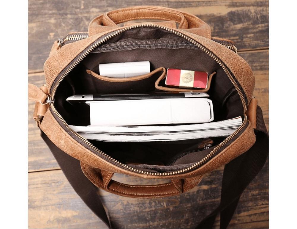 Коричневая кожаная сумка под старину Vintage BX8178C - Фото № 9