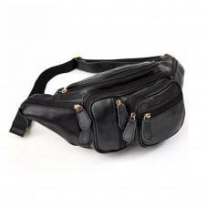 Чёрная кожаная сумка на пояс большая Bexhill Bx8336A