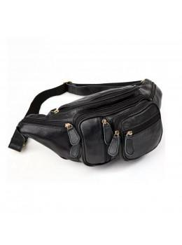 Чорна шкіряна сумка на пояс велика Bexhill Bx8336A