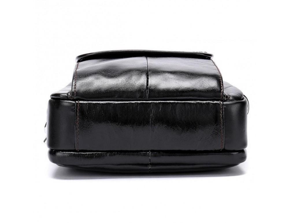 Маленькая мужская сумка через плечо тёмно-коричневого цвета Bexhill Bx9024-1 - Фото № 6